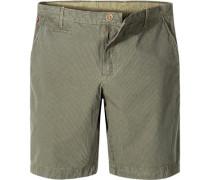 Hose Shorts Baumwolle oliv-tannengrün gestreift