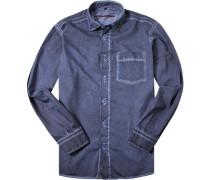 Hemd Classic Fit Twill jeansblau