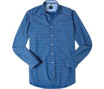 Hemd Casual Modern Fit Baumwolle dunkelblau- gemustert