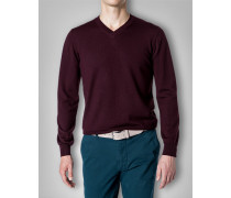 V-Pullover Wolle bordeaux