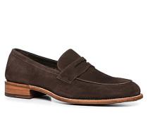 Schuhe Pennyloafer Kalbveloursleder testa di moro
