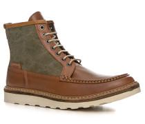 Herren Schuhe Schnürstiefeletten Leder-Textil-Mix hellbraun-grün