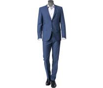 Anzug, Schurwolle, königsblau meliert