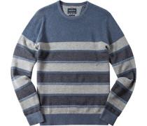 Herren Pullover Wolle-Baumwoll-Mix jeansblau-grau gestreift