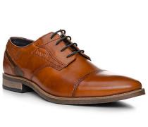 Schuhe Derby, Leder, cognac