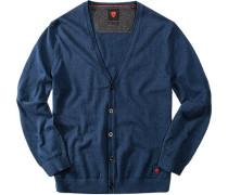 Herren strellson Sportswear Cardigan Harper-C Baumwoll-Mix marine blau