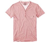 Herren T-Shirt Baumwolle weiß-rot gestreift