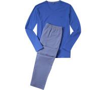 Herren Schlafanzug Pyjama Baumwolle azurblau gestreift