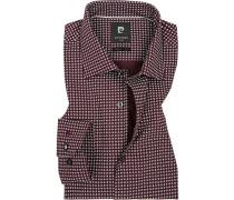 Hemd, Modern Fit, Baumwolle, bordeaux-weiß gemustert