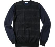 Herren Pullover Woll-Mix schwarz gestreift