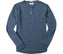 Langarm-Shirt Baumwolle navy meliert