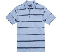 Polo-Shirt, Baumwoll-Jersey, blaugrau gestreift