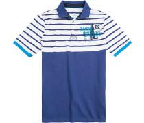 Polo-Shirt Polo Modern Fit Baumwoll-Jersey royal-weiß gestreift