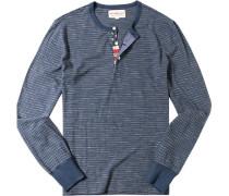 Longsleeve Baumwolle jeansblau-beige gestreift