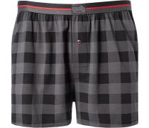 Herren Unterwäsche Boxer-Shorts Baumwoll-Mix grau-schwarz kariert grau,schwarz