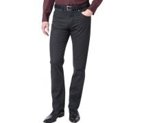 Herren Jeans Regular Fit Baumwoll-Stretch anthrazit gestreift grau