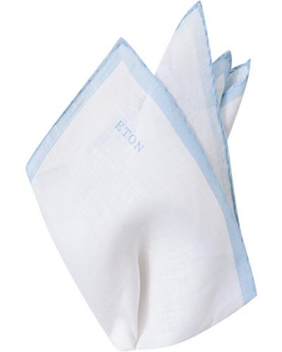 Accessoires Einstecktuch Leinen hellblau-weiß