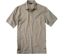 Polo-Shirt Polo Baumwoll-Piqué khaki meliert