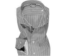 Hemd, Slim Fit, Baumwolle, dunkelgrau-weiß gestreift