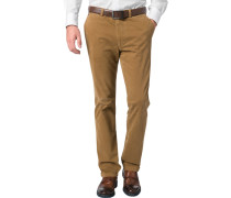 Herren Hose Chino Regular Fit Baumwoll-Stretch ocker braun