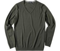 Pullover Merinowolle olivgrün