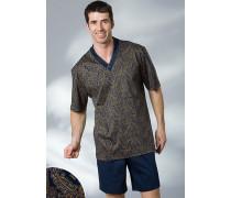 Herren Schlafanzug Pyjama Baumwolle paisley blau,gelb