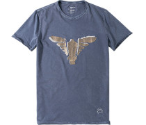 T-Shirt Slim Fit Baumwolle taubenblau