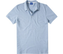 Herren Polo-Shirt Polo Modern Fit Strukturgewebe aqua meliert blau