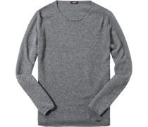 Herren Pullover Woll-Kaschmir-Mix anthrazit meliert grau