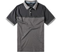 Herren Polo-Shirt Polo Baumwoll-Mix schwarz gestreift
