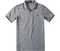 Herren Polo-Shirt Polo Slim Fit Baumwoll-Piqué schwarz-weiß meliert