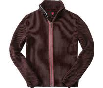 Herren strellson Sportswear Cardigan Lecter-J Schurwoll-Mix brombeere violett