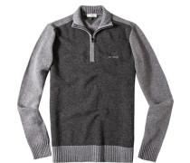 Pullover Troyer Schurwolle dunkelgrau