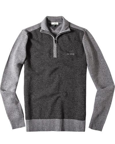 Pullover Troyer, Schurwolle, dunkelgrau