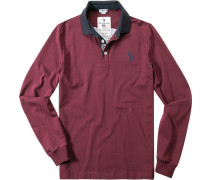 Polo-Shirt Polo Baumwoll-Jersey Applikation hinten bordeaux