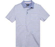 Polo-Shirt Polo Baumwoll-Pique -weiß gestreift