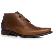 Schuhe Schnürstiefelette, Kalbleder, cognac