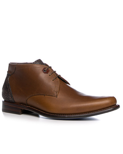 Schuhe Schnürstiefelette Kalbleder cognac