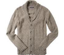 Cardigan, Microfaser-Wolle, beige-grau meliert
