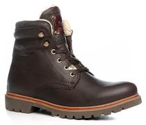 Schuhe Schnürstiefeletten Leder warm gefüttert dunkelbraun ,weiß