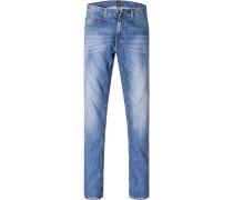 Herren Blue-Jeans Slim Fit Baumwoll-Stretch jeansblau