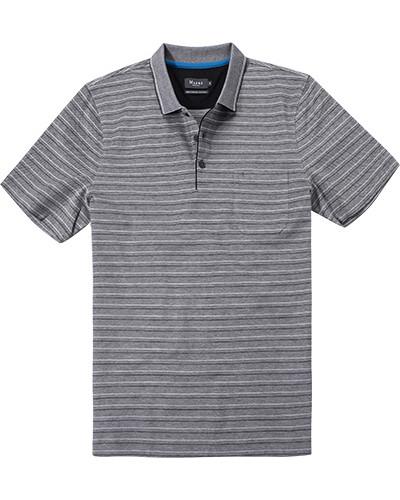 Polo-Shirt Baumwolle mercerisiert schwarz gestreift