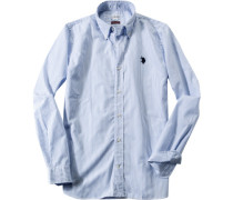 Hemd Regular Fit Popeline dunkelblau-weiß gestreift