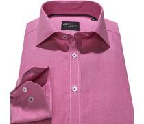 Herren Hemd Slim Fit Popeline pink gemustert rosa