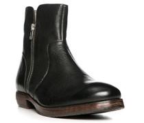 Herren Schuhe Stiefeletten Leder schwarz schwarz,grau
