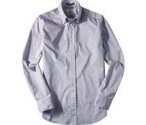 Oberhemd Regular Fit Baumwolle indigo-weiß meliert