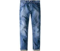 Jeans Anti Fit Baumwoll-Stretch tintenblau