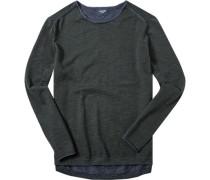 Herren Pullover Baumwolle dunkelgrün-jeansblau meliert