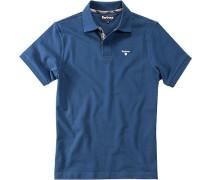 Polo-Shirt Baumwoll-Piqué azurblau