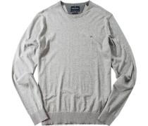 Pullover Wolle-Baumwoll-Mix hellgrau meliert